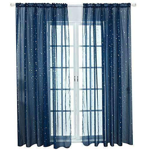 Boys Room Window Sheer Navy Blue Curtain Panel 39 x 79