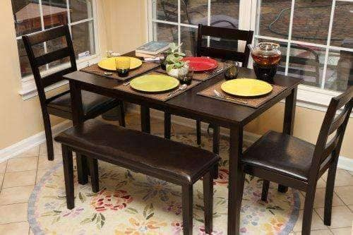 5 Pieces Dining SET with Table, Chairs & Bench