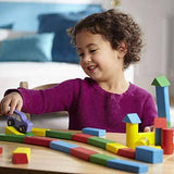 Wooden Building Blocks Set - 100 Blocks - 4 Colors and 9 Shapes