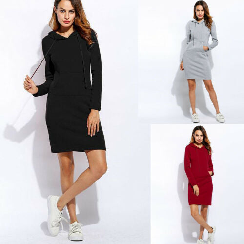 Casual Hoodie Sweatshirt Dress
