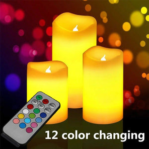 3 Pcs Colour Changing Flameless LED Candles