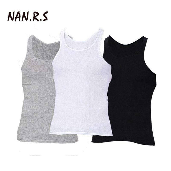 3 PCS/lot Man's Solid Cotton Tank Tops - PACK OF 3