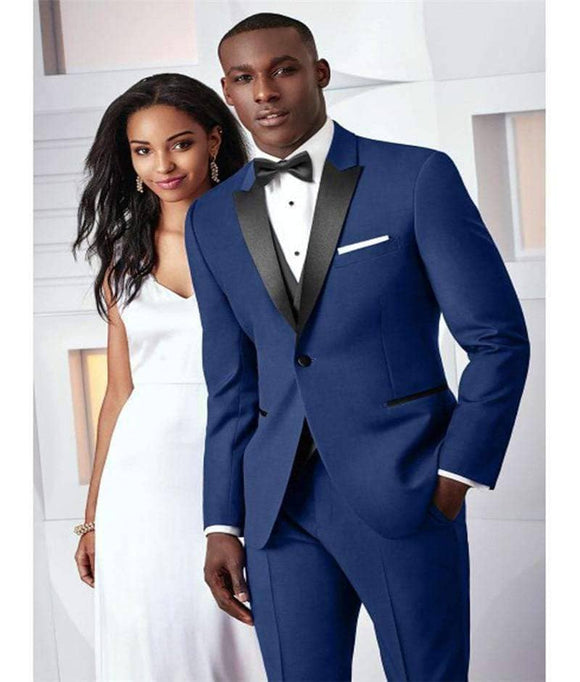 Dark Blue Wedding Suit-  2 Pieces (Jacket+Pants+BowTie)