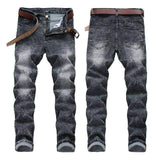 Snowflake Pattern Black & Grey Denim Trousers