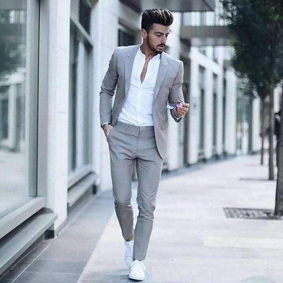Slim Fit Casual Suit-  2 Pieces