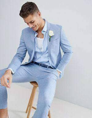 Light Blue Slim Fit Tailored Suit