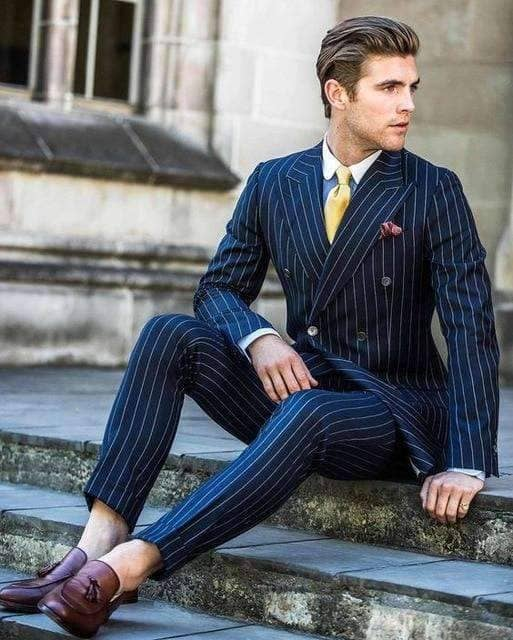 2 Piece Navy Blue Stripe Suit