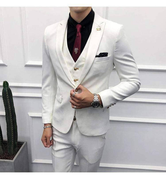 White Suit Set -  Jacket + Vest + Pants