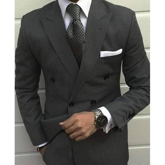 Smoking Grey Business Wedding Suit - 2 Piece