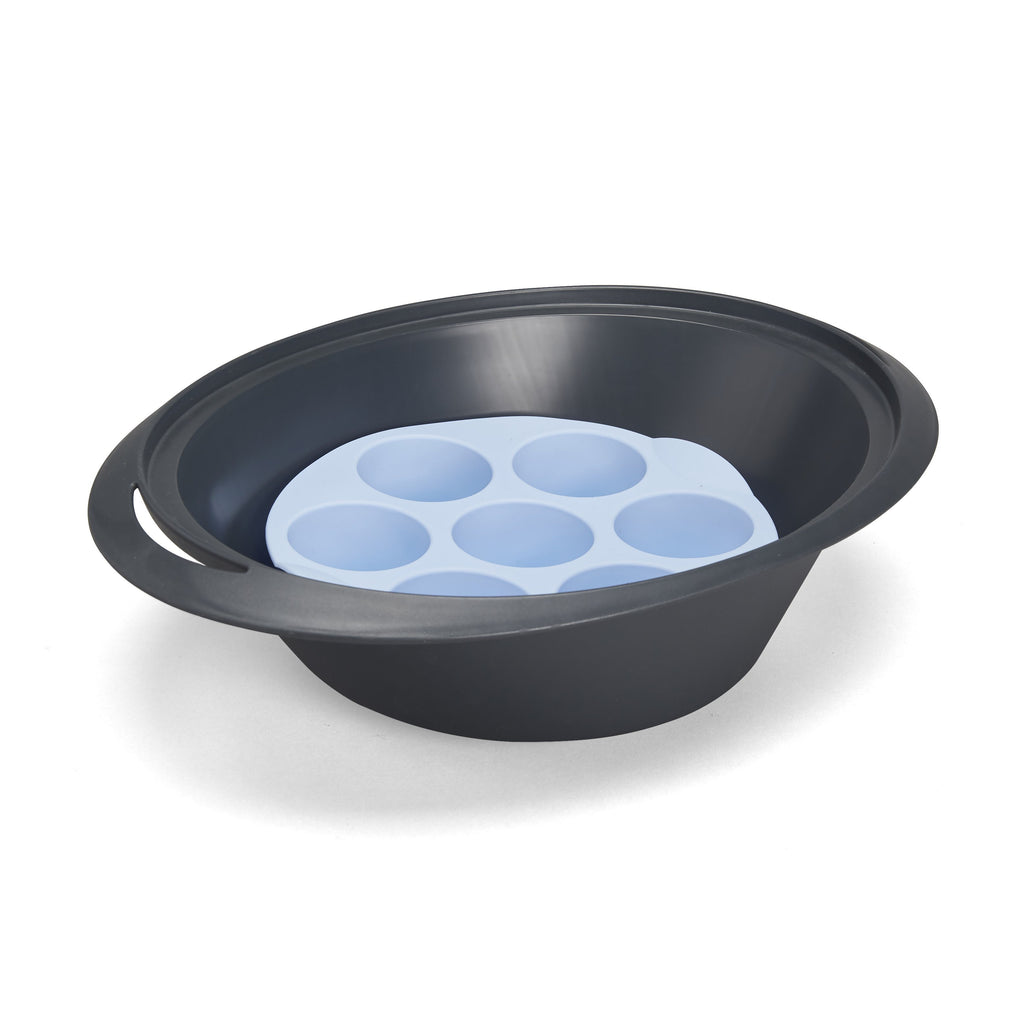 Silicone Muffin Mould 7-Cup Round Blue - for Varoma - thermishop.com.au