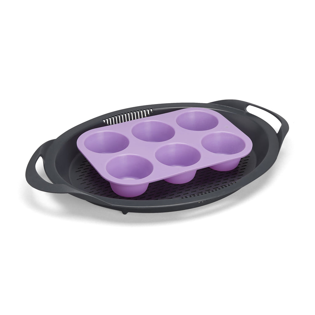 Silicone Muffin Mould 6-Cup Lilac - for Varoma - thermishop.com.au