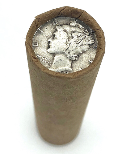 Brown Bank-Stamped Wheat Roll | Mercury Dime