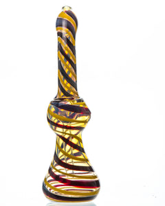 "8"" Swirled Colored Glass Bubbler"