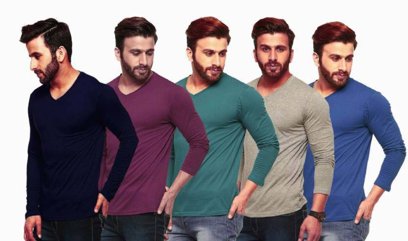 Solid Men's V-neck Multicolor T-Shirt  (Pack of 5)