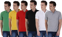 Load image into Gallery viewer, Solid Men Polo Neck Black, Yellow, White, Red, Green, Grey T-Shirt  (Pack of 6)