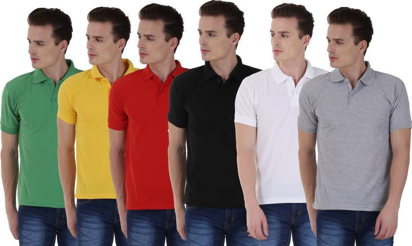 Solid Men Polo Neck Black, Yellow, White, Red, Green, Grey T-Shirt  (Pack of 6)