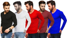 Load image into Gallery viewer, Solid Men's V-neck Multicolor, Black, Red, White, Maroon, Blue T-Shirt  (Pack of 5)