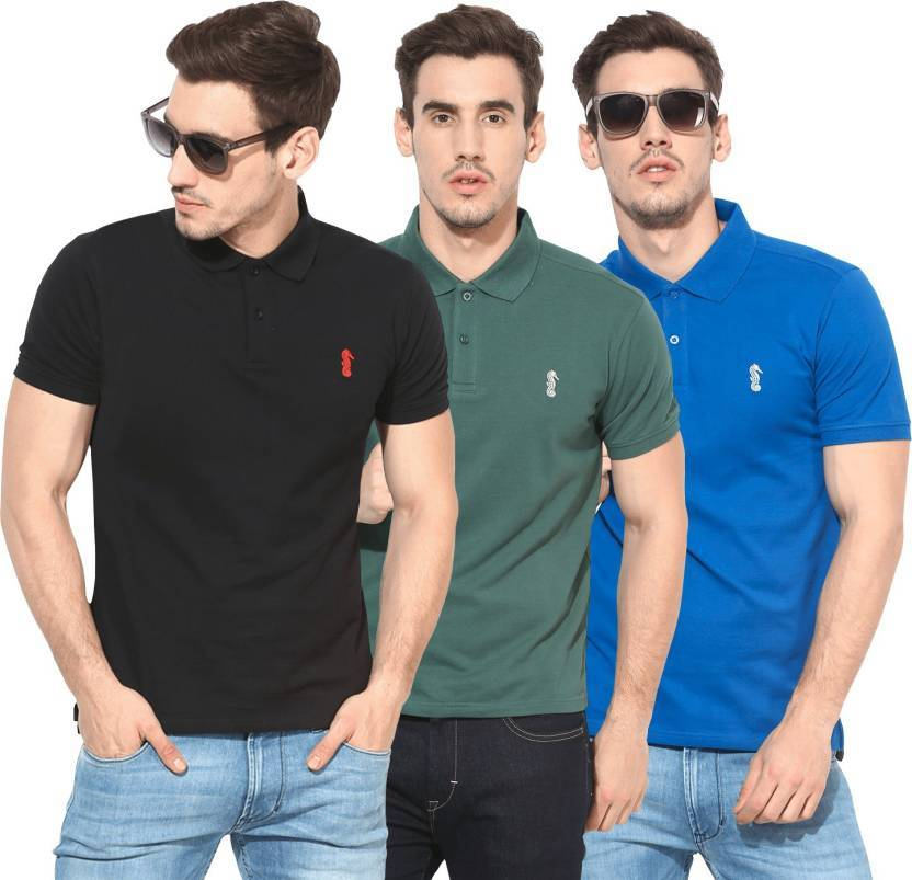 CLASSIC Solid Men's Polo Neck Multicolor T-Shirt  (Pack of 3)