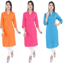Load image into Gallery viewer, Casual Solid Women Kurti  (Pack of 3)