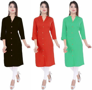 Casual Solid Women Kurti  (Pack of 3)