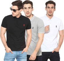 Load image into Gallery viewer, CLASSIC Solid Men's Polo Neck Multicolor T-Shirt  (Pack of 3)