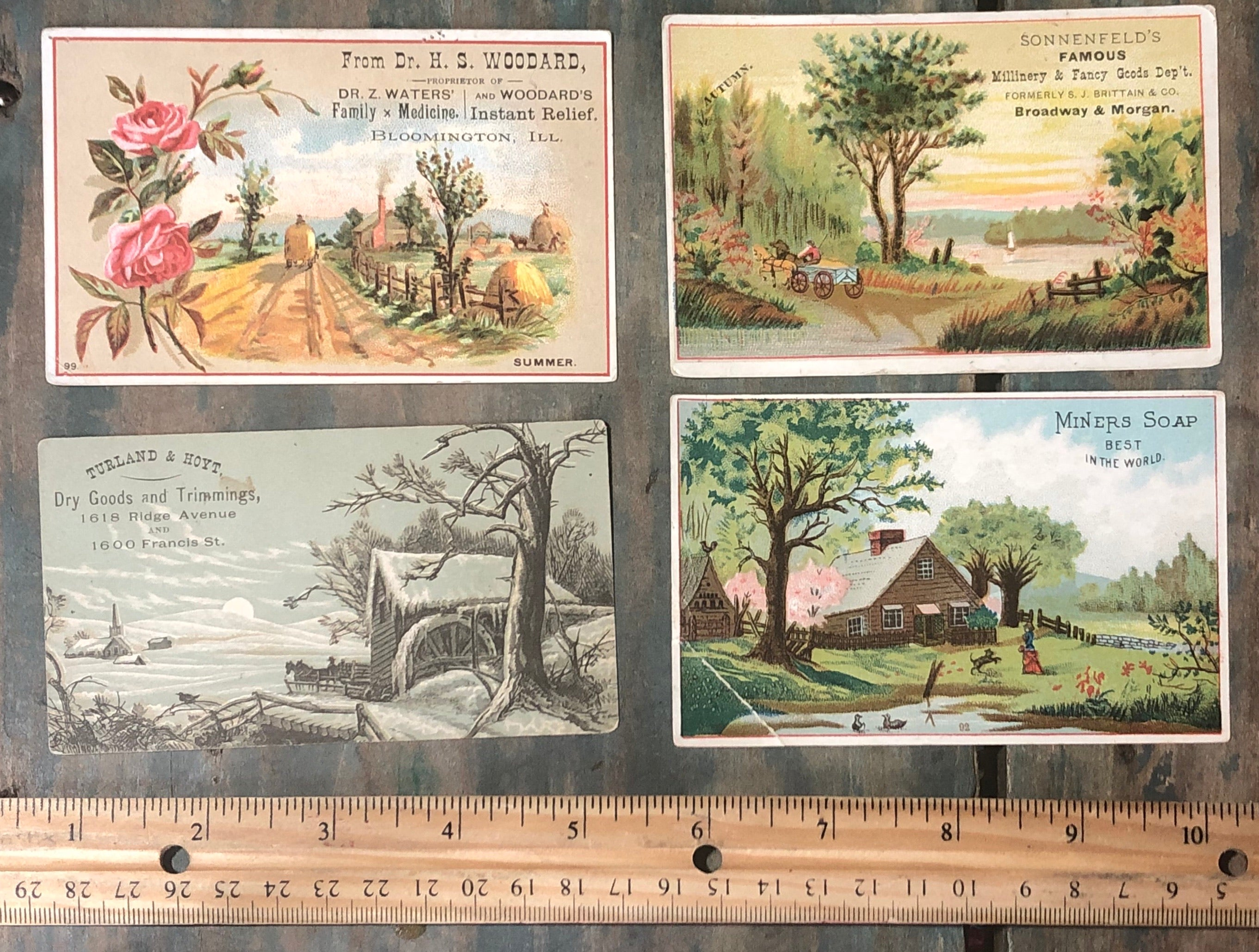 Victorian Advertising Trade Cards Set - Landscapes