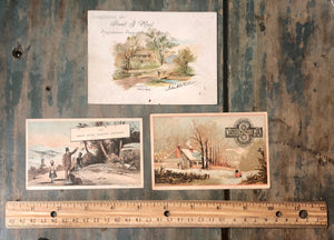 Victorian Advertising Trade Cards Set Brand Landscapes
