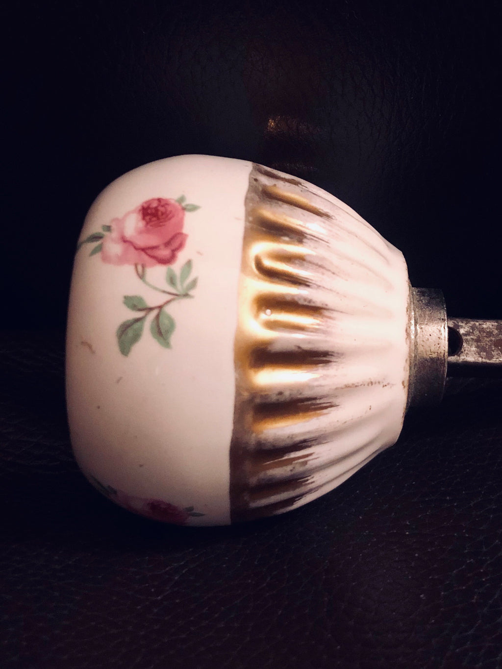 Mid Century Ceramic Knob with Painted Roses