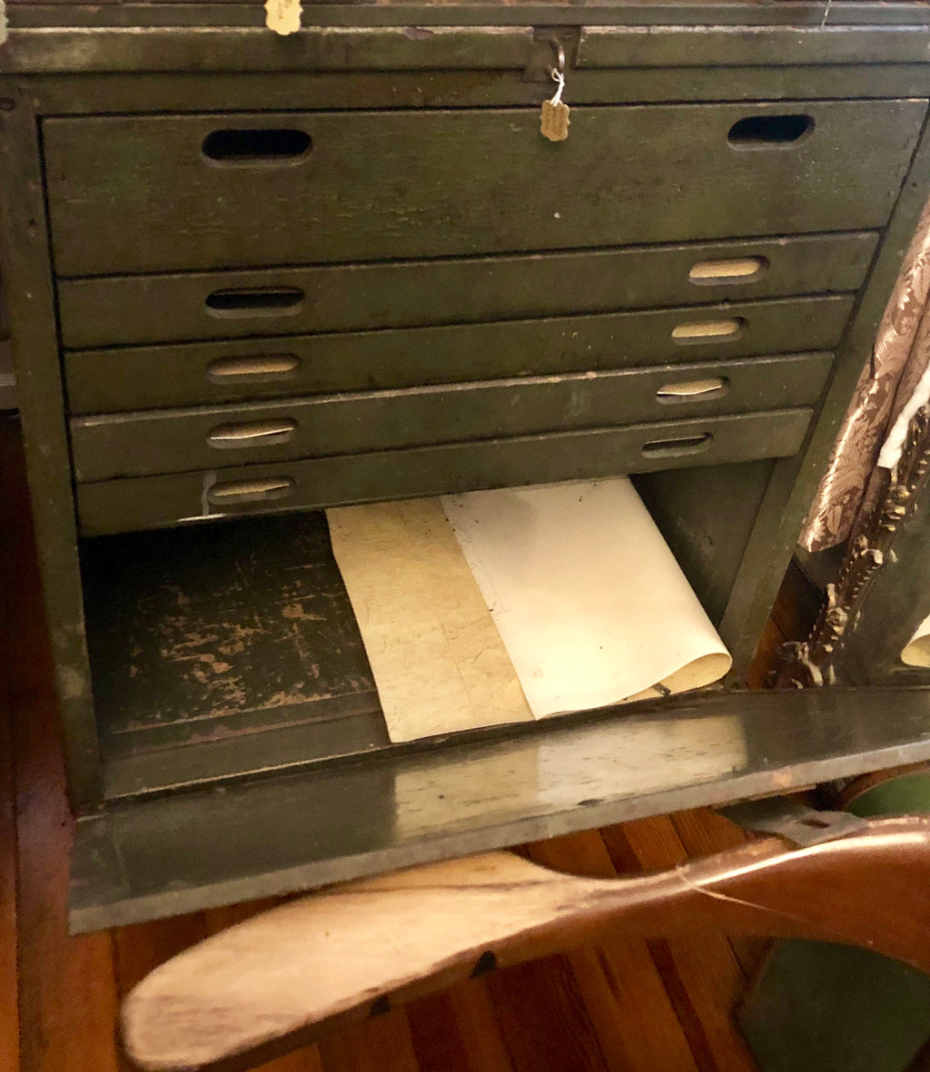 Antique Jobsite Lockbox with Flat File Drawers