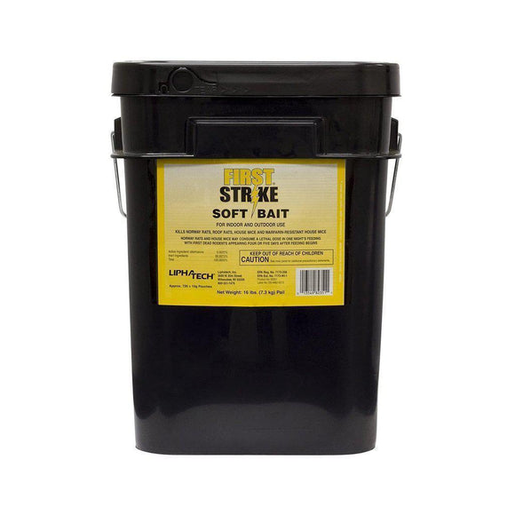 First Strike Soft Bait-Mice/Rat Poison-Lipha Tech-1 large pail (16 lbs.)- Bug Clinic - Do-It-Yourself Pest Control Supplies