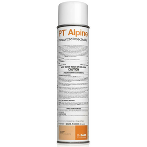 Alpine Pressurized Insecticide is a powerful, nonrepellent aerosol with a broad spectrum label for use against: Ants, Asian Lady Beedles, Bed Bugs, Boxelder Bugs, Centipedes, Cockroaches, Crickets, Earwigs, Flour Beetles, Fruit Flies, Indianmeal Moths, Millipedes, Pillbugs, Powder Post Beetles, Silverfish, Sowbugs, Spiders, Springtails, Stink Bugs and many more crawling and flying insects.