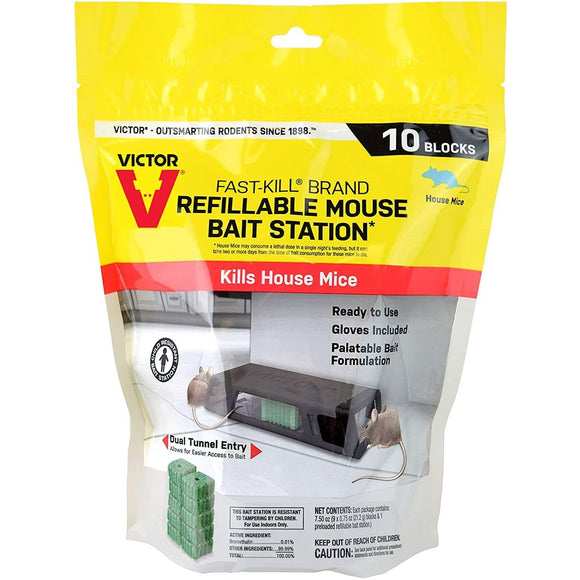 Victor® Fast-Kill® Mouse Poison - 10 Bait Blocks and 1 refillable Bait Station-Mice/Rat Poison-bugclinic- Bug Clinic - Do-It-Yourself Pest Control Supplies