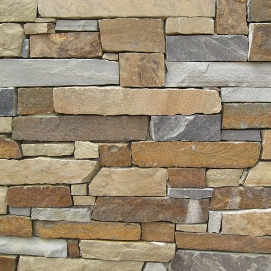 Earth Tone Sandstone Thin Veneer Blend - Carols Low Ledge Ledgerock - Corners