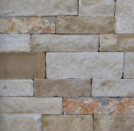 Earth Tone Sandstone Thin Veneer Blend - Jarvis Sawn Height Drystack - naturalstoneandbrickdepot-com