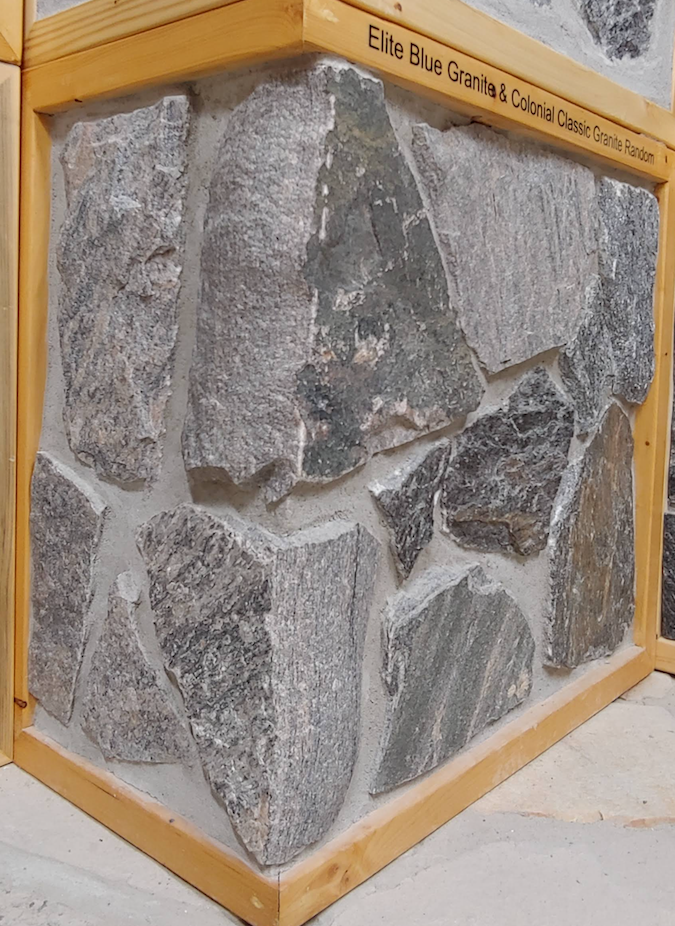 Elite Blue Granite & Colonial Classic Granite - Random - Thin Veneer - Corners