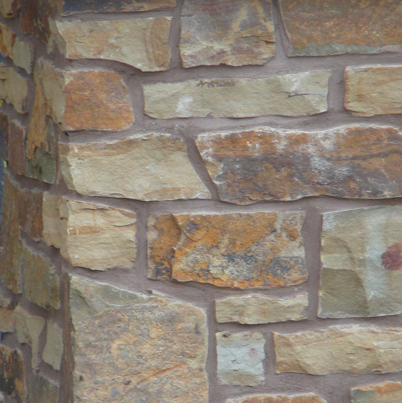 Peterbourough Fence Wall with Eden Mills Rustic Ranch - Earth Tone Blend Thin Stone Veneer - Flats