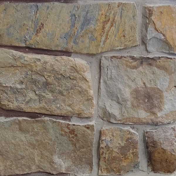 Rugged Faced Squares - Earth Tone Thin Stone Veneer - Corners