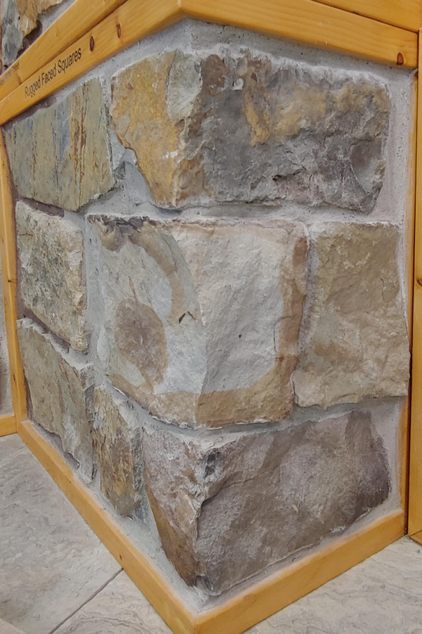 Rugged Faced Squares - Earth Tone Thin Stone Veneer - Flats