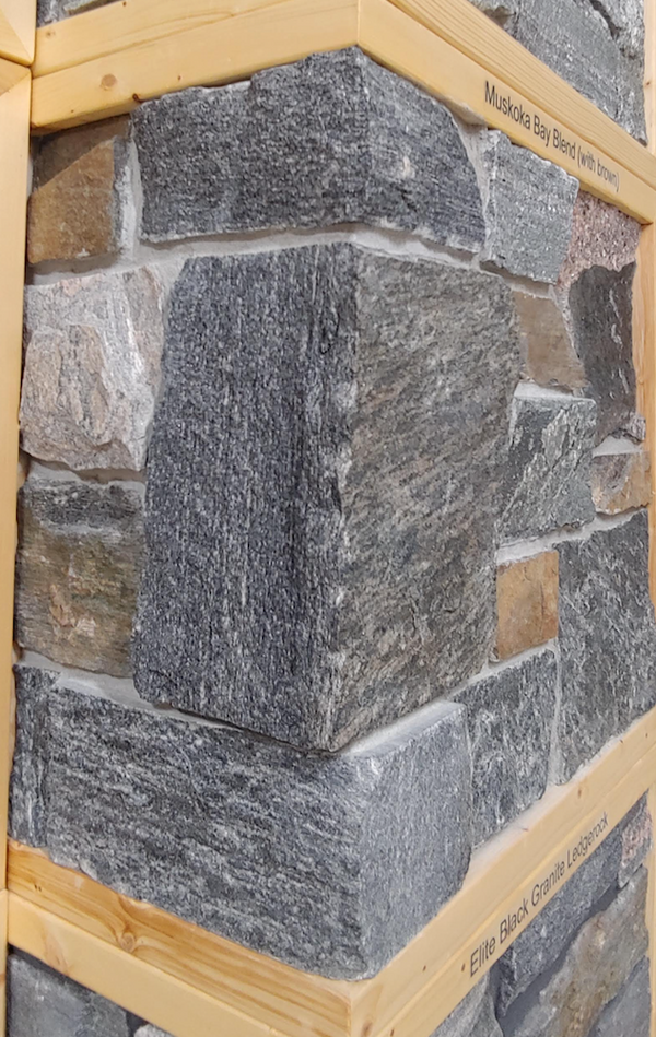 Muskoka Bay Black Granite Blend with Brown Rock Accent - Thin Stone Veneer - Flats