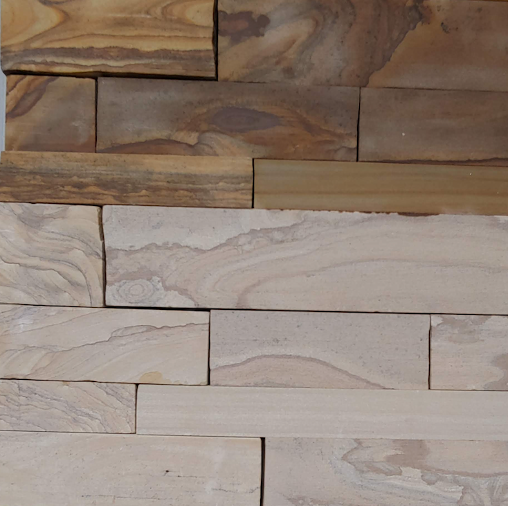 Timber Creek Ledge Thin Veneer - Sawn Face Drystack - Brown and Beige - Corners