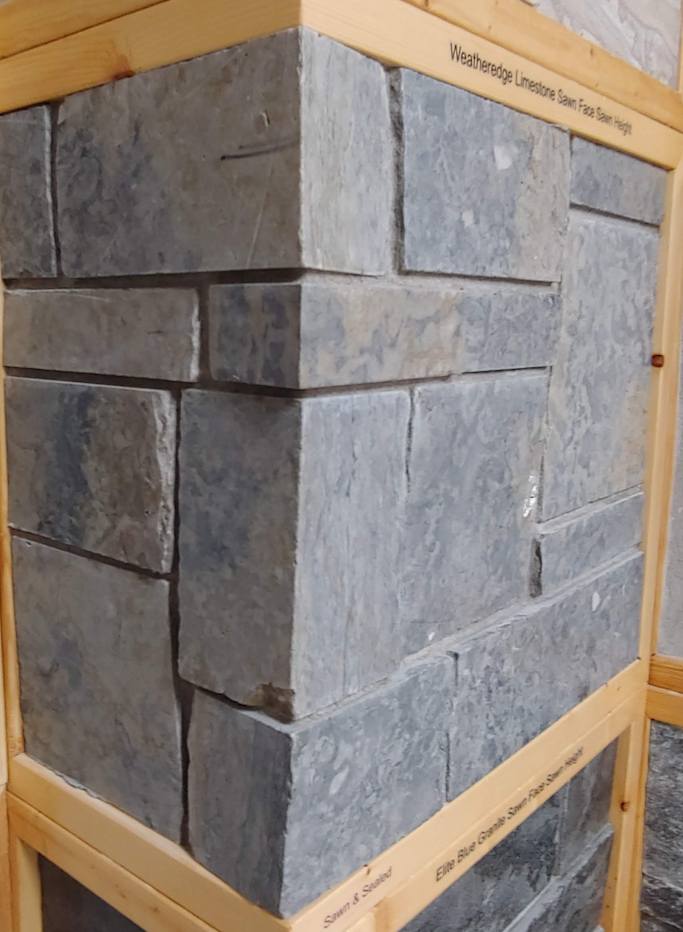 Weatheredge Limestone Bed Face Thin Veneer - Sawn Face Sawn Height - Corners