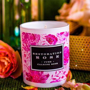 Rose infused candles made from organic roses.