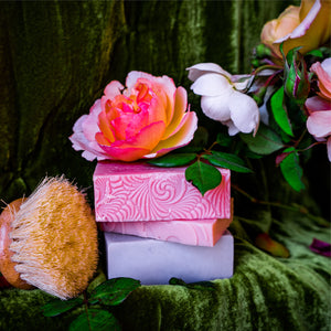 Rose infused soaps for sensitive skin. When used regularly this gently cleansing soap reduces your skin's need for supplemental moisture.