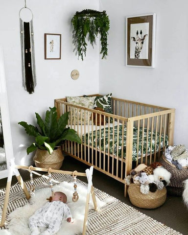 beautiful scandi style nursery - 5 reasons why you should go for scandi nursery  - botanical baby nursery. Otis and the Wolf - get the scandi look for your little one for less