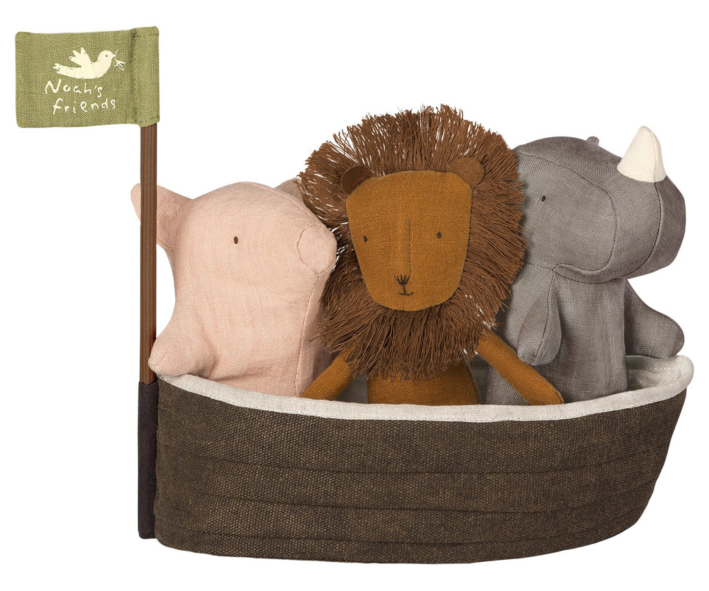 Maileg Noah's Ark with 3 Mini Animals - a cute toy set for a child to help them learn about animals and for imaginary play. Otis and the Wolf - bringing you Scandi style for children