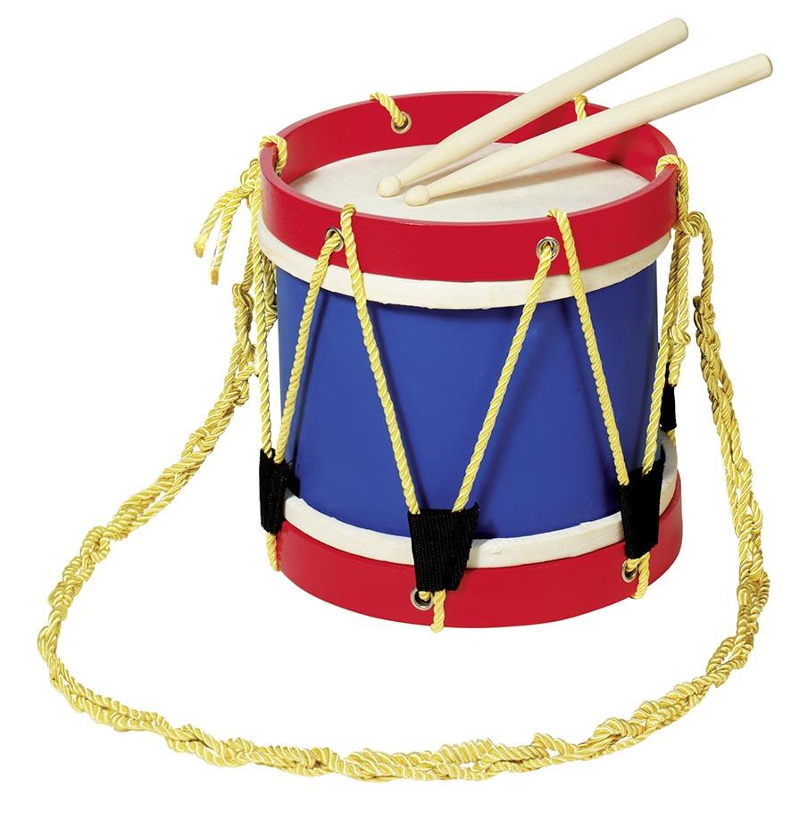 Red and blue Children's toy drum with drumsticks and yellow rope. This drum had a real skin designed by Goki. Otis and the Wolf - bringing you Scandi style for children