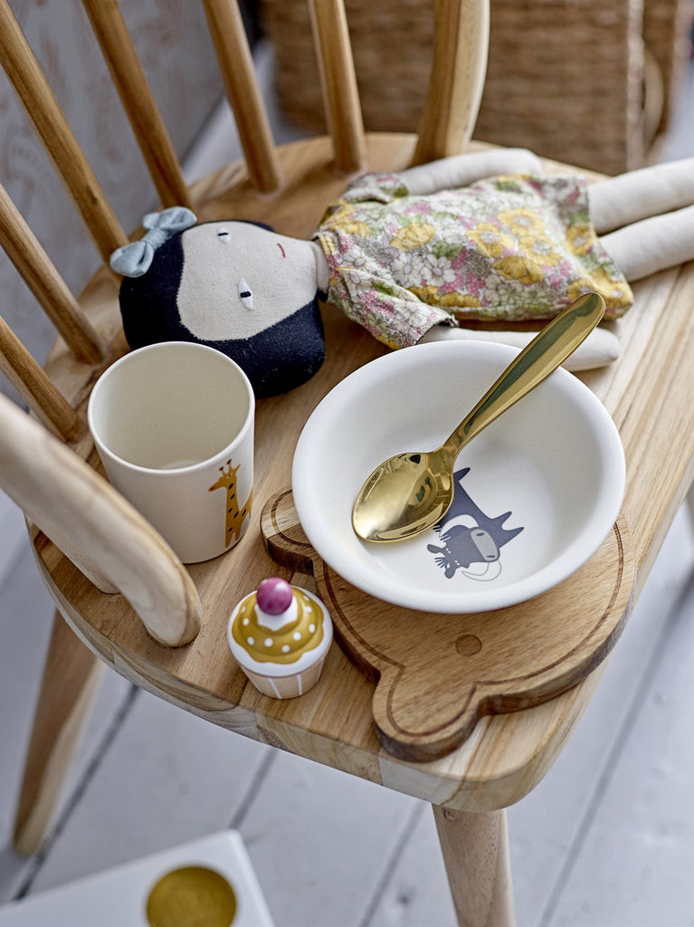 Safari Bamboo Dinner  Set illustrated with safari animals. This plain white three piece serving set is made up of a plate, bowl and cup and are illustrated with colourful safari animals. This scandi designed crockery set is from  Bloomingville Mini. Otis and the Wolf bringing you scandal style for little people