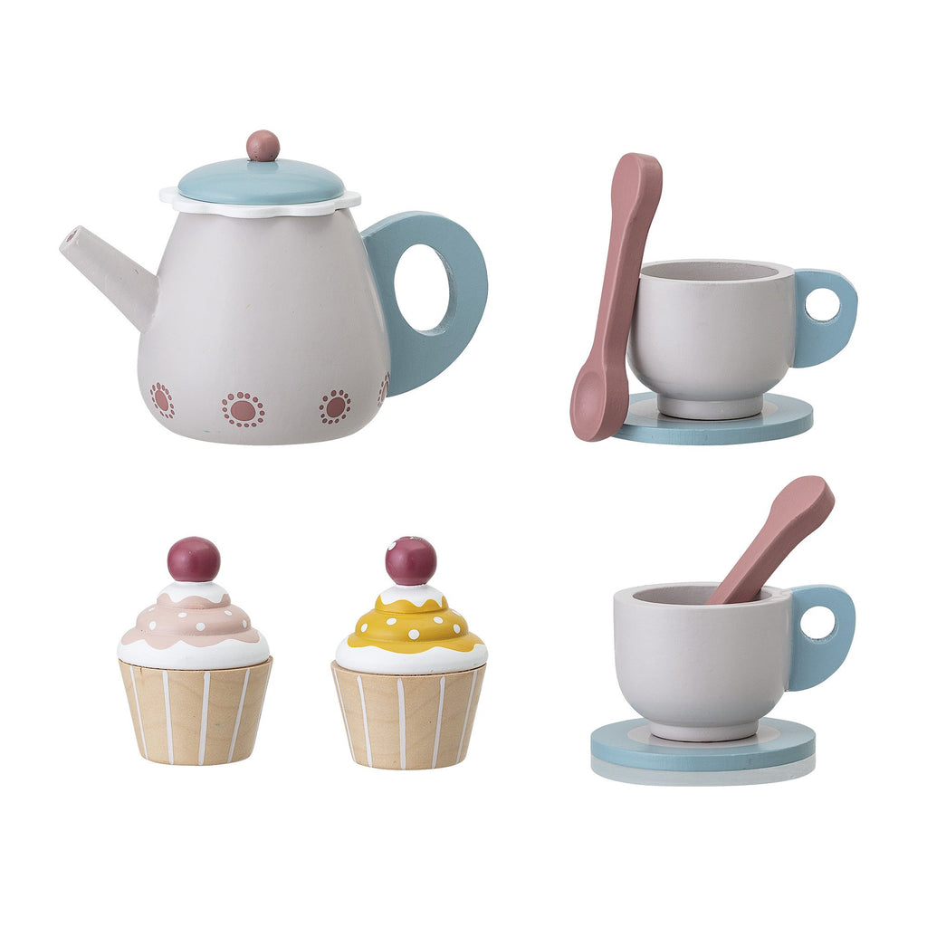 Tea Set from Bloomingville Mini. An 8 piece set with two cups, two spoons, two cakes, a tea pot and a wooden tray. Otis and the Wolf - bringing you scandi style for little ones