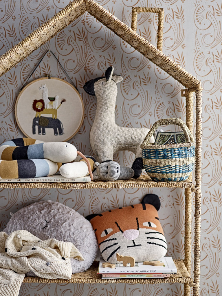 Embroidered safari wall hanging featuring an elephant, a lion and a llama. on cotton inside a wooden ring. From Scandi brand Bloomingville mini. Otis and the Wolf - bringing you scandi style for little ones and their nursery