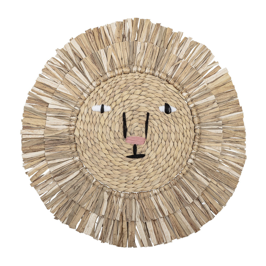 Lion Wall Decor - Water Hyacinth. From Scandi brand Bloomingville Mini. Otis and the Wolf bringing you Scandi style for little ones and their nursery.
